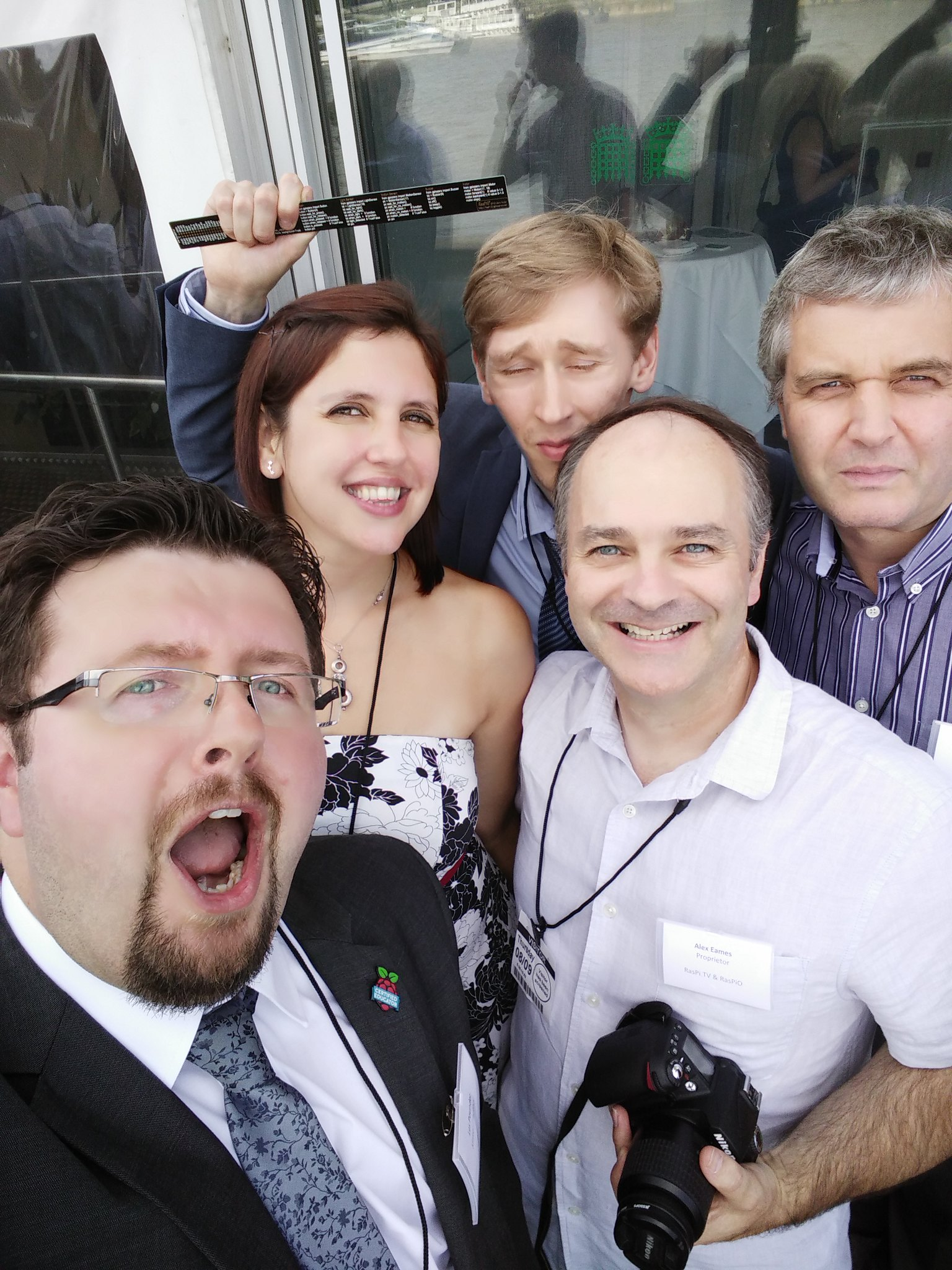 Me, Cat Lamin, Ben Nuttall, Alex Eames, Albert Hickey at the Palace of Westminster celebrating the success of the Raspberry Pi.