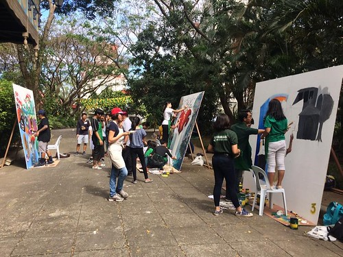 A student-artist mural interaction activity in partnership with the street art group CVTY Collective, Bam and Nina Garibay. | by paghilomcavite