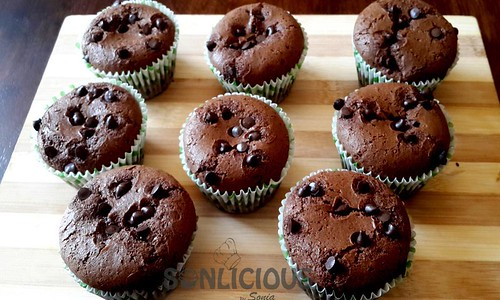 Eggless Chocolate Muffins without Condensed Milk after baking