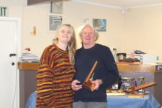 Ian Wallace receiving trophy for 1st sailor in the closing regatta   by PLSC (Panmure Lagoon Sailing Club)