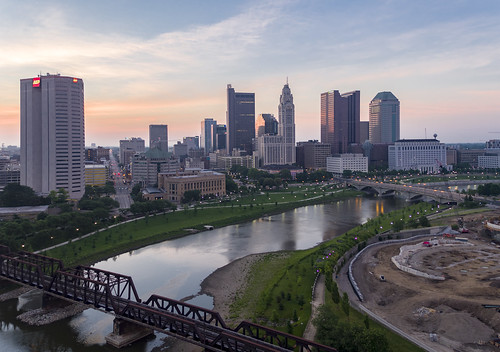 inspire1pro drone downtown dji columbus ohio outdoors ariel cityscape hdr morning sunrise summer skyline skyscraper sciotariver railroadtracks