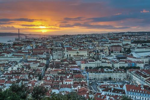 flickr cityscape sunset lisbon travel portugal skyline