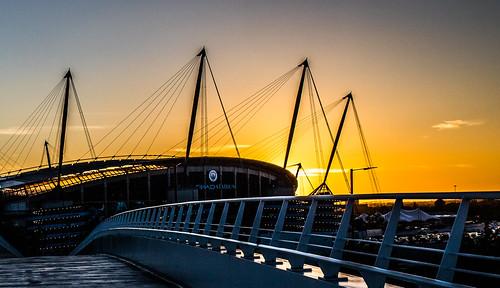 evening sunset football etihad city manchestercityfc stadiums manchester