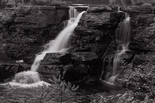 waterfalls rain storm day outdoor landscape nature cliffs geology bushkill creek pennsylvania boyscoutcamp rocks bw summer