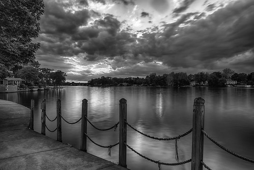 blackwhite elkhart hdr indiana nikon nikond5300 outdoor stjosephriver bw clouds evening fence geotagged longexposure reflection reflections river sky sunset tree trees water unitedstates