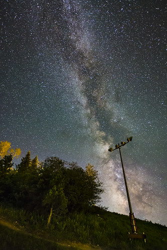 astronomy night sky milkyway galaxy emission nebula stars dark bright trees forest woods light pole path slope trail longexposure