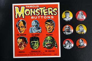 Famous Monster Buttons (Elwar 1960's)