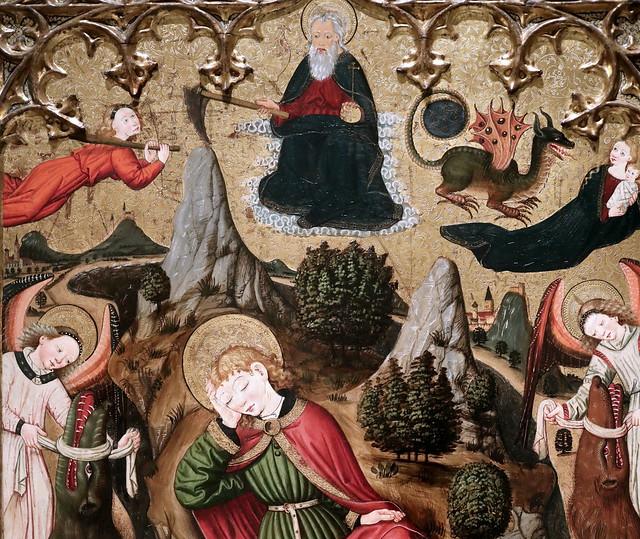 IMG_4737 Maître d'Ayguatebia. Vers 1450. Catalogne. Saint Jean l'Evangéliste à Patmos. Saint John the Evangelist in Patmos. Barcelone Museu Nacional d'Art de Catalunya (MNAC)