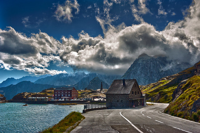 Wellcome to Italy. The wind is blowing on the Italien side of the Great Saint Bernard Pass.(2,469 alt. )Mont Forchon is under a storm. No. 2132.Original.