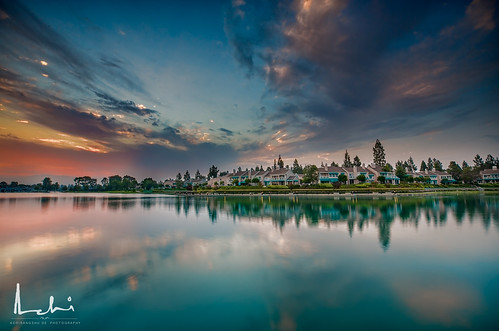 sunrise clouds sky lake water irvine california morning calm cloud scatteredcloud colorful canon canonphotography longexposure dramatic drama canon5dmarkiii canon1635markiii wideangle wide landscape