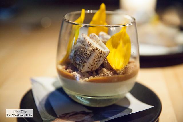Maine maple pudding, pine kernel crumb, sea salt caramel, smoked & charred marshmallows
