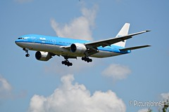 KL604 KLM Asia Boeing 777 (PH-BQM) from Los Angeles arriving at Schiphol Amsterdam