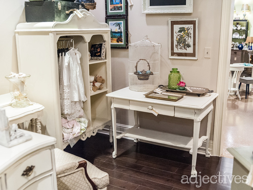 Vintage desk, armoire and chair in Winter Park by The Vintage Nest