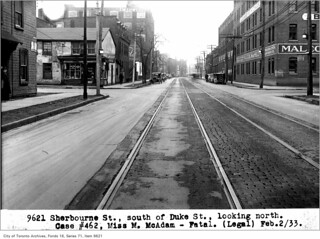 Sherbourne Street south of Duke (Adelaide) Street, looking north