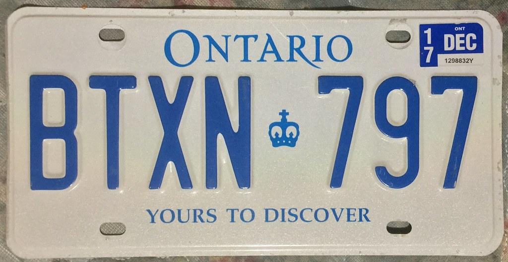 Ontario 2017 License Plate Ontario 2017 License Plat
