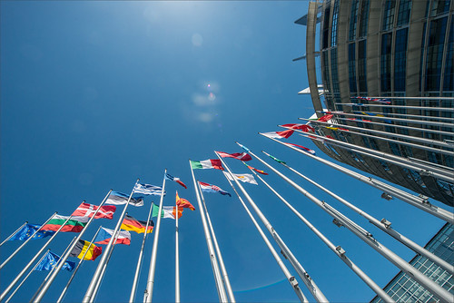 Outside view of the flas of the European Union is Strasbourg | by European Parliament