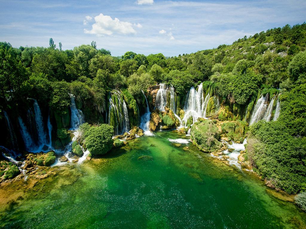 Kravice waterfalls | Aireal photo of Kravice waterfalls in ...