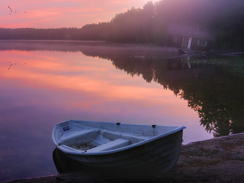 landscape finland lake beautiful sunrise boat sauna water reflection ilobsterit