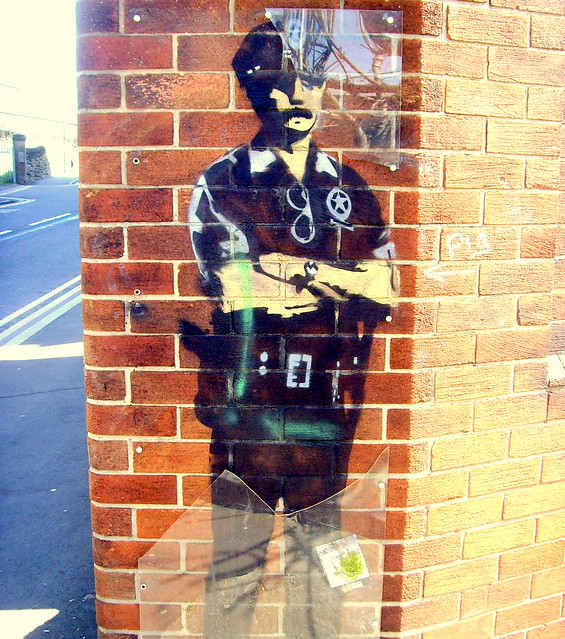 Cop mural by street artist Karl Striker in Newcastle