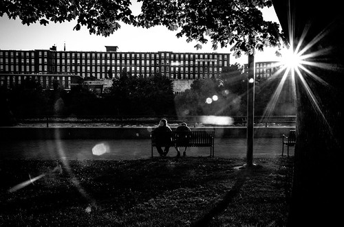 sun sunset flare reflections bw monochrome street manchester newhampshire newengland mills tree people stareffect