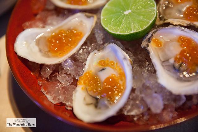 "Norumbega oysters with kimchi ""caviar"""