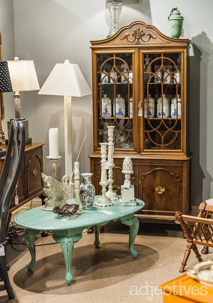 Vintage china cabinet and coffee table by Eric Madison's Vintage Corner