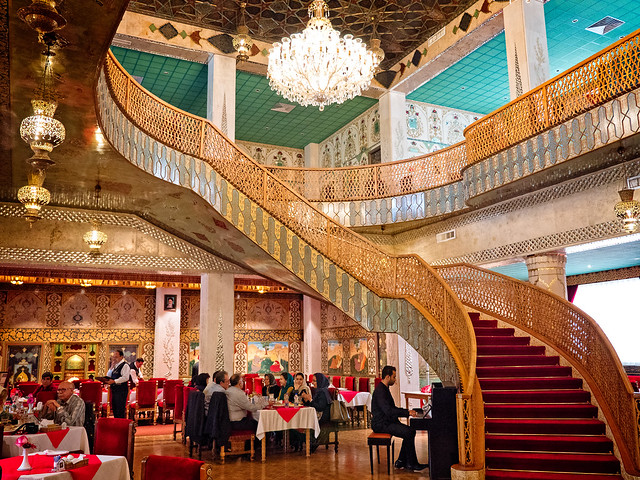 Restaurant at Abbasi Hotel in Isfahan, Iran