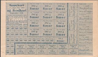 Rationeringsmærker, brød og smør 1918