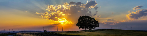 landscape panorama sunset upper franconia germany trees sun clouds fields