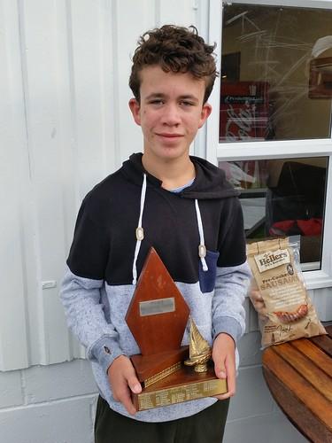 Jy Irving, winner of the Bill Thomas Trophy Intermediate Trophy - Club Champs B fleet Junior winner | by PLSC (Panmure Lagoon Sailing Club)