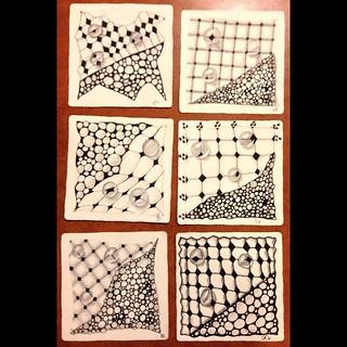 "More lovely student tiles from this evening's ""Beyond Basics: Tanglenhancers"" class in Windsor, Ontario. #zentangle #tangle #tangling #czt #laurelreganczt #art #classes #artclass #artclasses #draw #drawing #windsor #ontario #yqg #tanglenhancer #tanglenhan | by Laurel Storey, CZT"