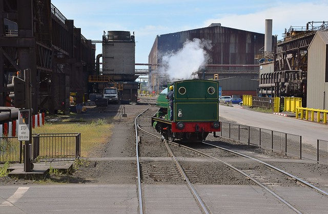 0-4-0 Peckett of 1916 vintage, passes by at British Steel Scunthorpe. 08 07 2017
