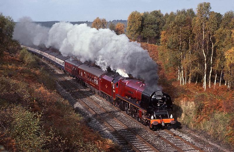 46229 Duchess of Hamilton at Baron Wood heading south. 26 October 1985.