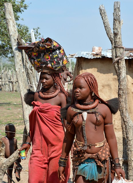Himba tribe girls - a Himba village near Opuwo, Namibia.