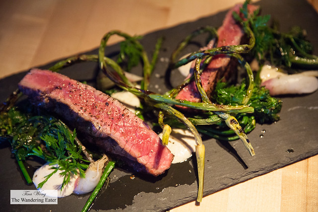 Market dish of the day - Grilled sirloin steak, grilled garlic scapes, turnips
