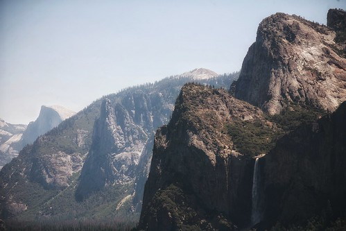 Majestic Yosemite Valley with Bridal Veil Falls in the foreground and Half Dome in the back | by sabarishraghupathy