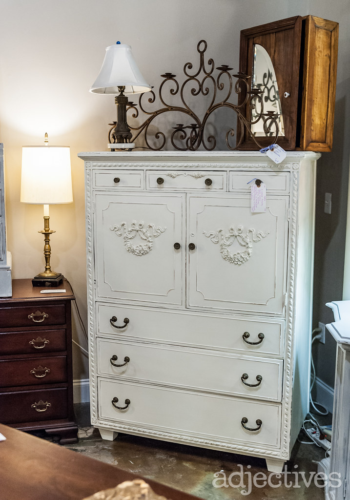 Vintage White armoire dresser by Bakers Dozen at Adjectives Altamonte