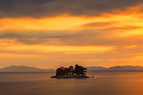 japan sunset sky light cloud weather landscape orange contrast colour bright lake island water nature spring