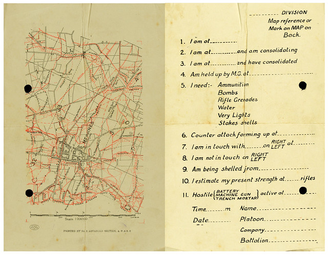 Map of Messines and form for soldiers to fill - Archives New Zealand Te Rua Mahara o te Kāwanatanga