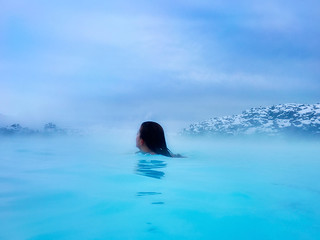 Iceland_woman wading through Blue Lagoon mist, water_HDR | by Lynn Friedman