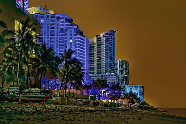 View of the skyline of Hollywood Beach, Broward County, Florida, USA