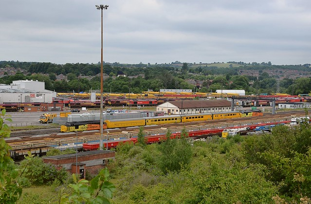 Colas locos 37175 & 37254 pause at Toton, with  a Network Rail Test Train, working from Doncaster to Derby RTC, this is the first of three passes through here. 01 07 2017