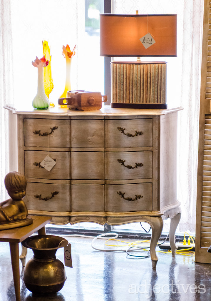 Vintage, painted chest and decor pieces by The Eclectic Pair in Adjectives Altamonte