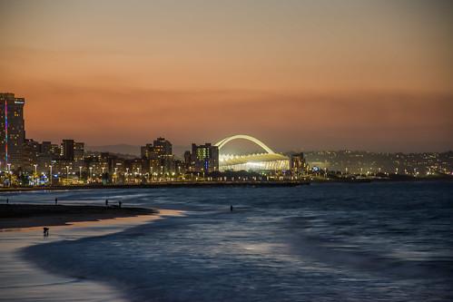 durban nikon sunset sky clouds stadium outdoor pano panorama panoramic south africa mosesmabhidastadium longexposure lights sea beach waves