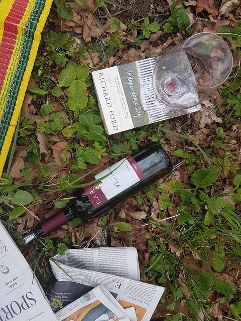 © Picknick Rotwein Flasche Wiese - Bottle of Red Wine Meadow