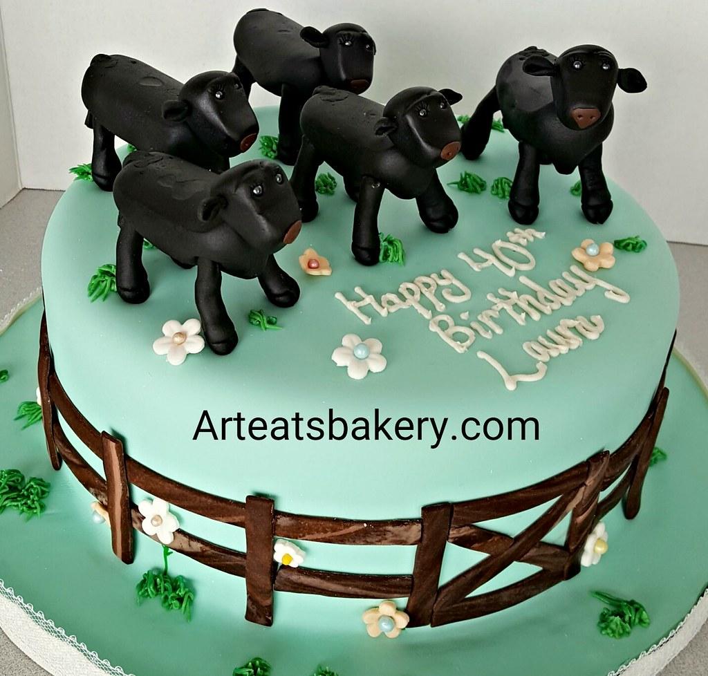 Sensational Custom Birthday Cake With Edible Black Angus Cows Flowers Flickr Funny Birthday Cards Online Kookostrdamsfinfo