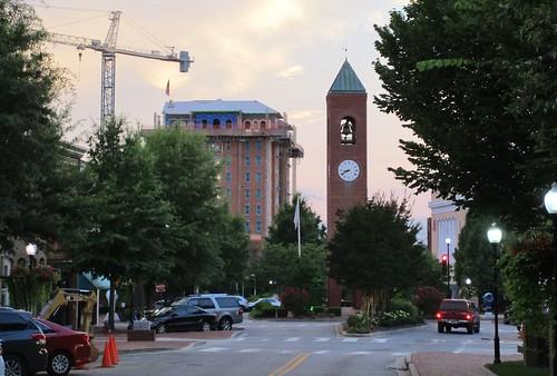 downtown spartanburg clock street hotel construction crane cityscape sunset morgansquare achotel clocktower mainstreet downtownspartanburg
