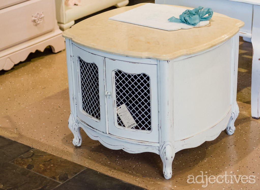 Marble top side table by Bluebird Cottage in Adjectives Winter Park
