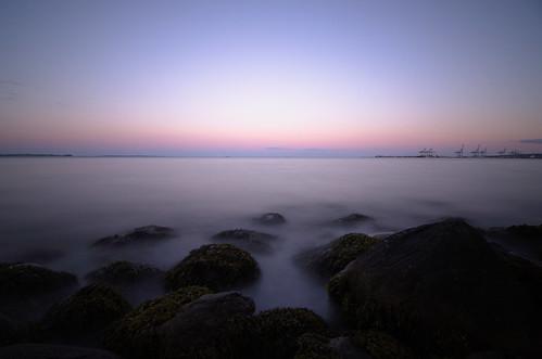 longexposure beach night colors silky rocks sea ocean sunset sky