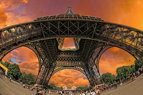 eiffeltower paris structure steelwork sunset sky clouds hdr people france superstructure canonef15mmf28fisheye îledefrance bobbaines
